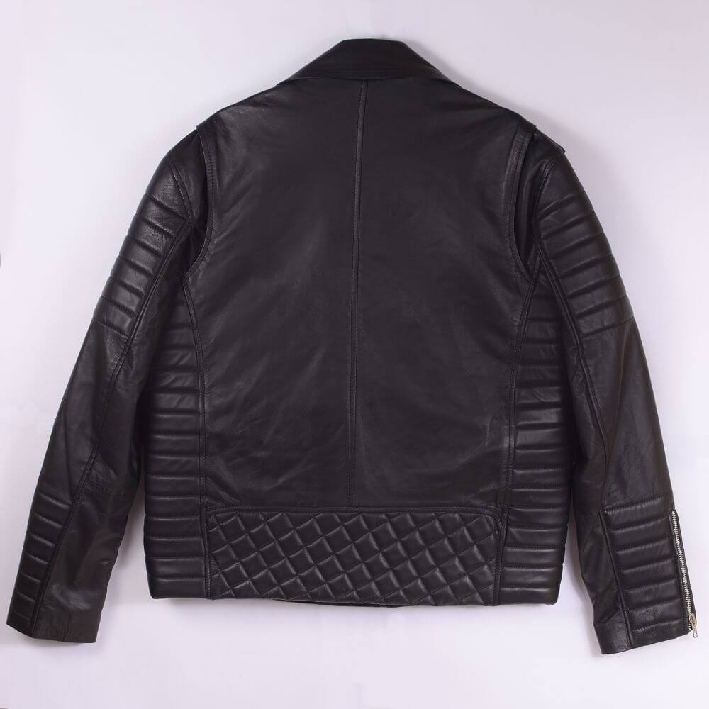 Back of Black Quilted Sheepskin Biker Jacket