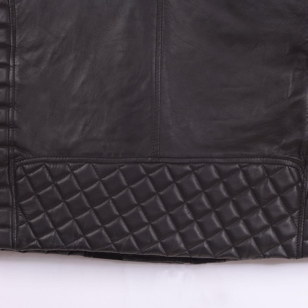 Back Hem Detail of Black Quilted Sheepskin Biker Jacket