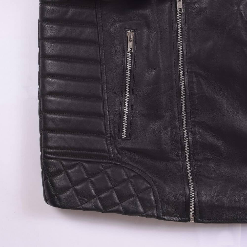 Side Pocket with Zipper Detail of Black Quilted Sheepskin Biker Jacket