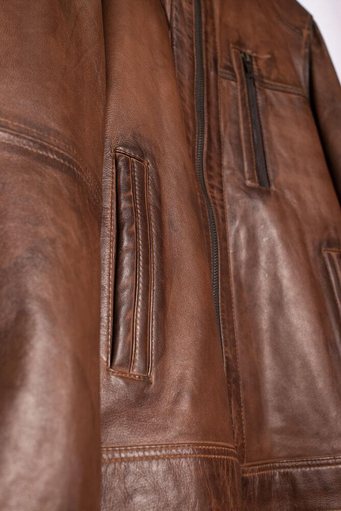 Side Pocket Detail of Brown Classic Leather Racer Jacket