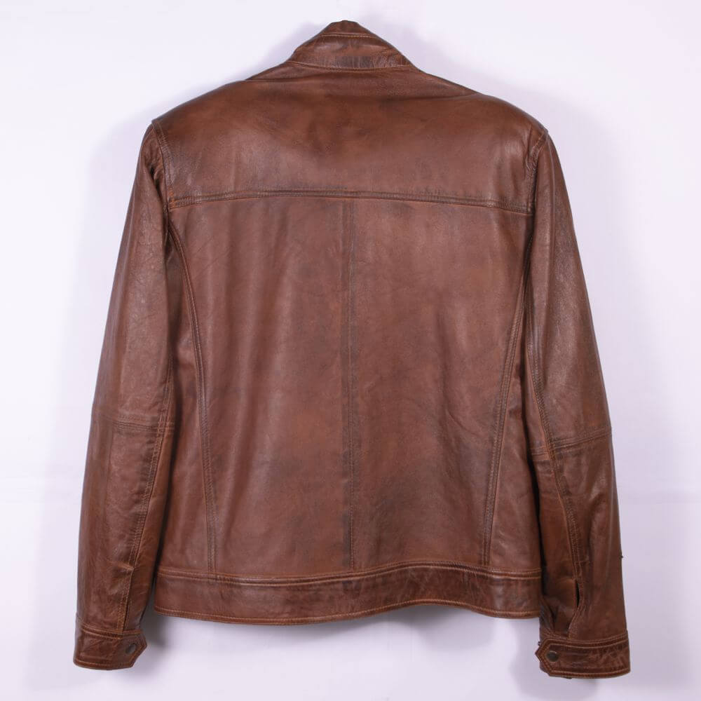 Back of Brown Classic Leather Racer Jacket