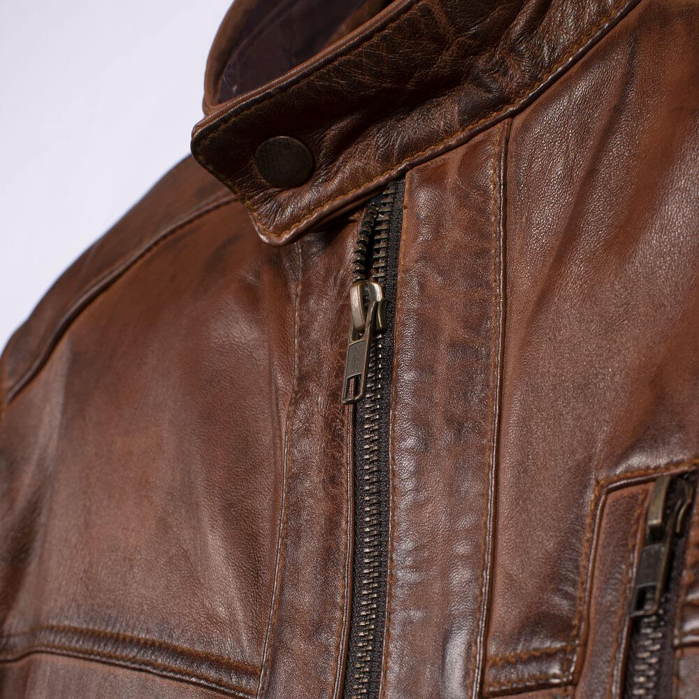 Collar and Front Zipper Detail of Brown Classic Leather Racer Jacket