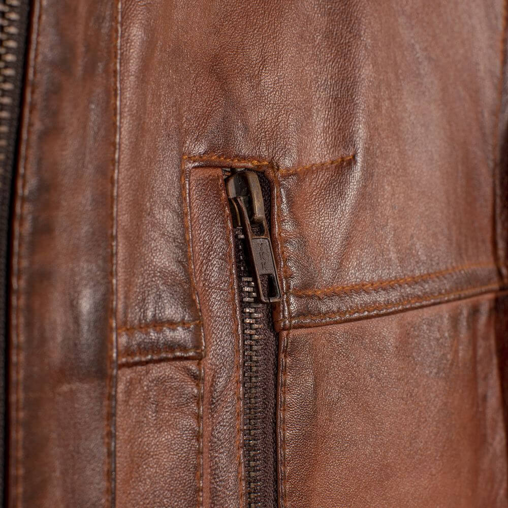 Side Pocket Zipper Detail of Brown Classic Leather Racer Jacket