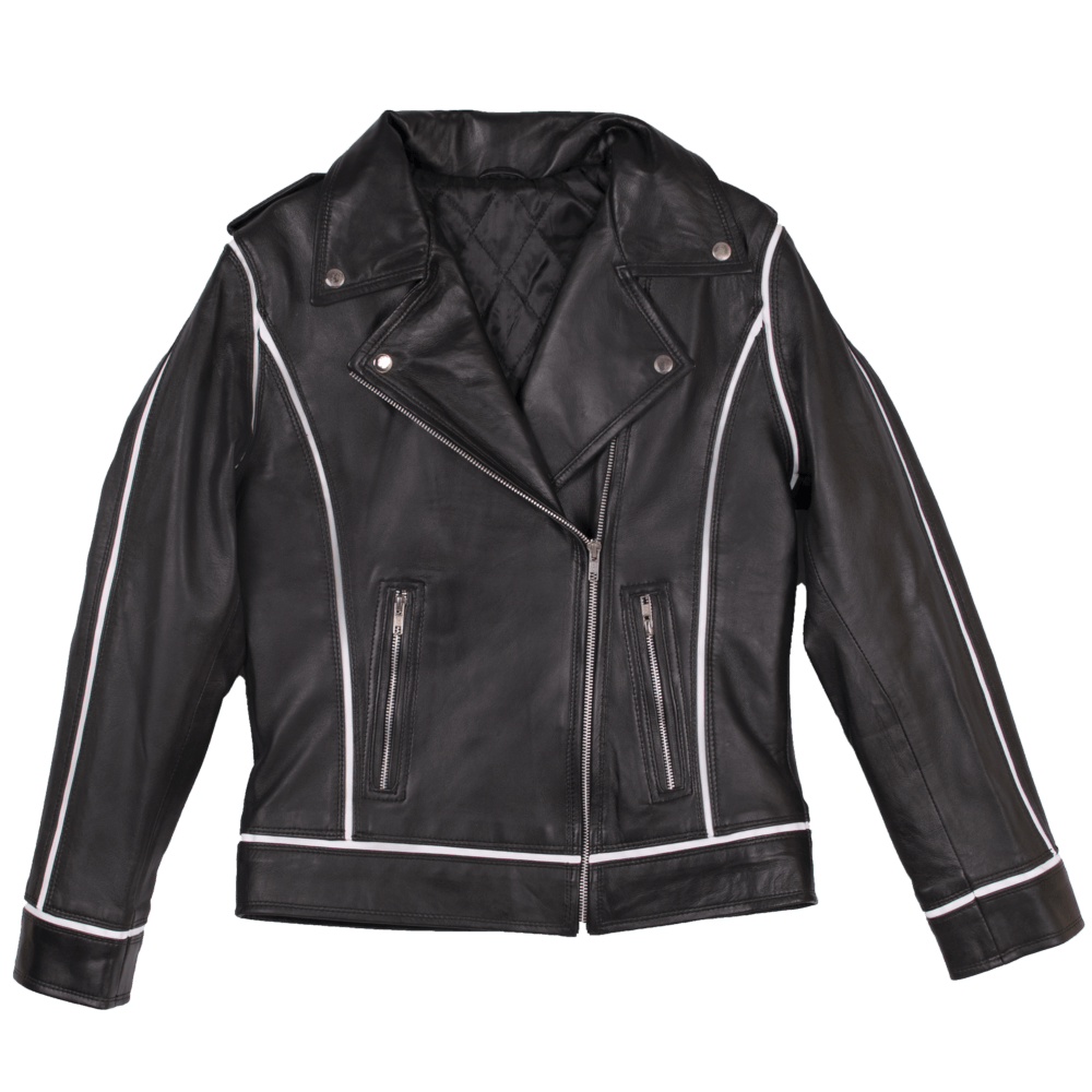 Leather Biker Jacket with White Trim