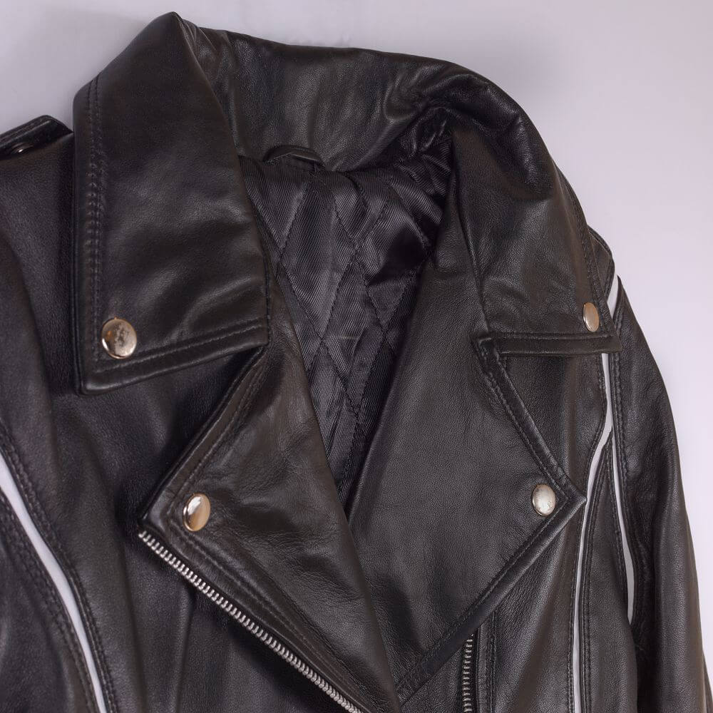 Collar Detail of Black Leather Biker Jacket with White Trim