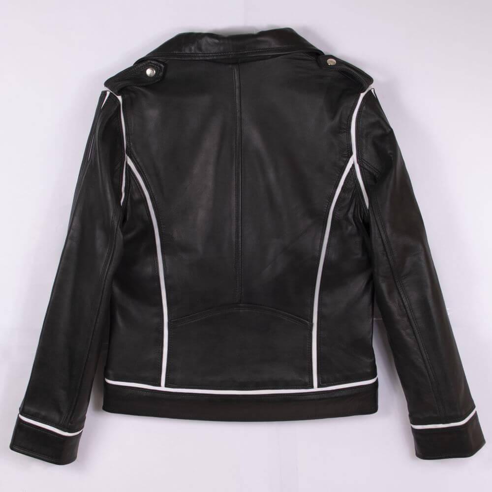 Back of Black Leather Biker Jacket with White Trim