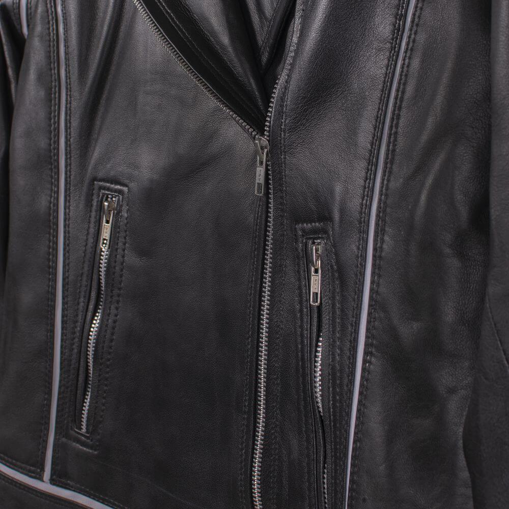 Side Pocket Zipper Detail of Black Leather Biker Jacket with White Trim