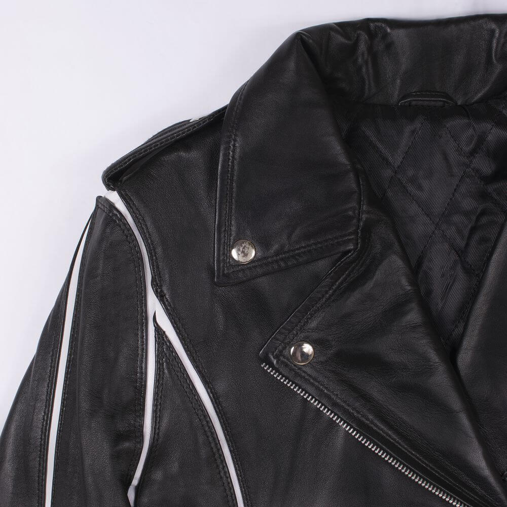 Shoulder and Collar Detail of Black Leather Biker Jacket with White Trim