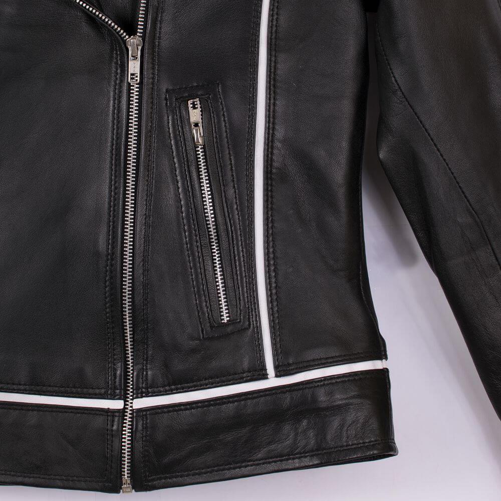Side Zipper Detail of Black Leather Biker Jacket with White Trim