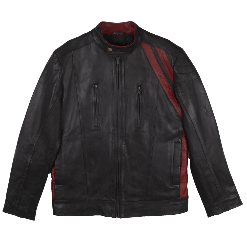 Color Block Leather Café Racer Jacket