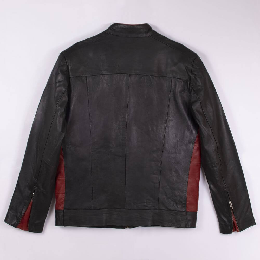 Back of Black Color Block Leather Café Racer Jacket