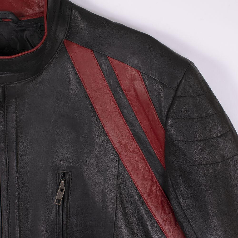 Shoulder Stripe Detail of Black Color Block Leather Café Racer Jacket
