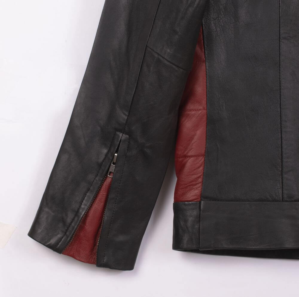 Cuff with Zipper Detail of Black Color Block Leather Café Racer Jacket