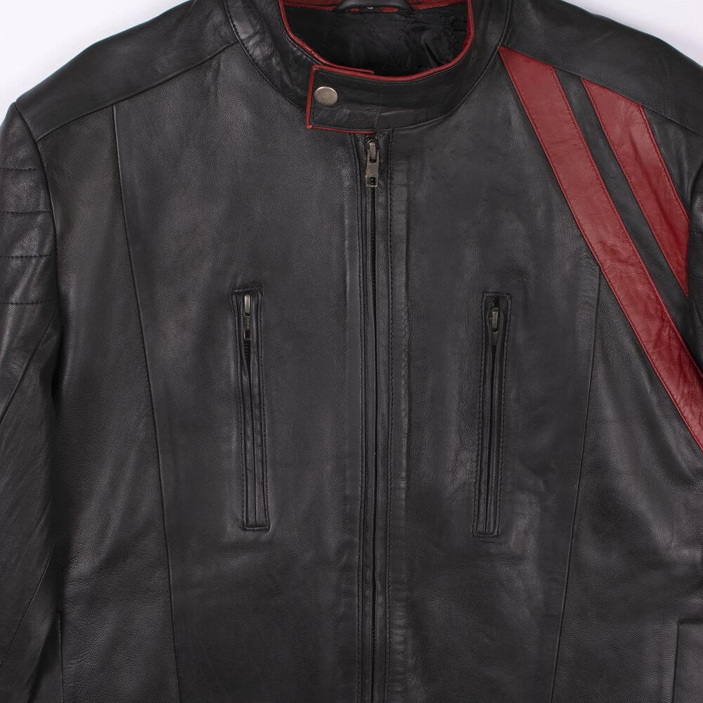 Front Zipper and Collar Detail of Black Color Block Leather Café Racer Jacket