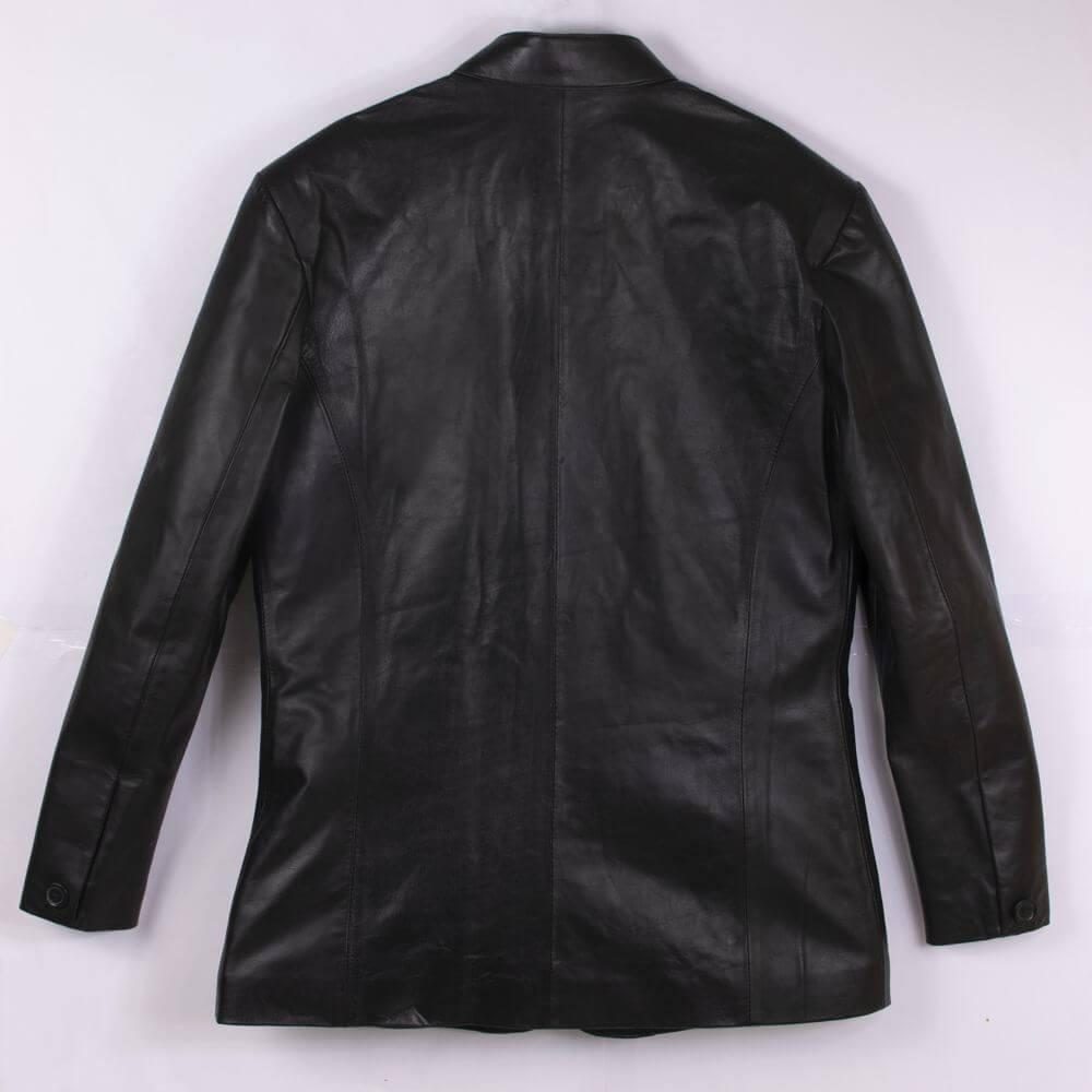 Back of Black Sheepskin Leather Blazer