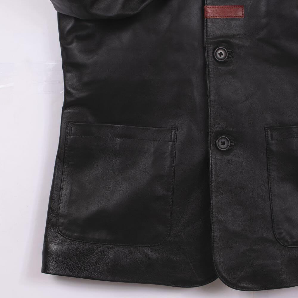 Side Pocket Detail of Black Sheepskin Leather Blazer