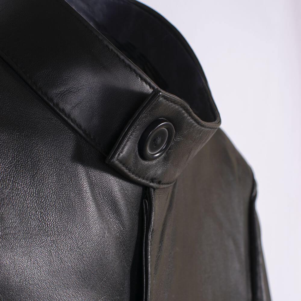 Collar with Button Detail of Black Sheepskin Leather Blazer