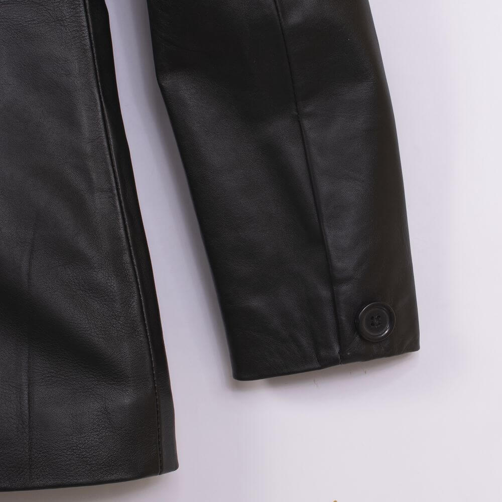 Cuff with Button Detail of Black Sheepskin Leather Blazer