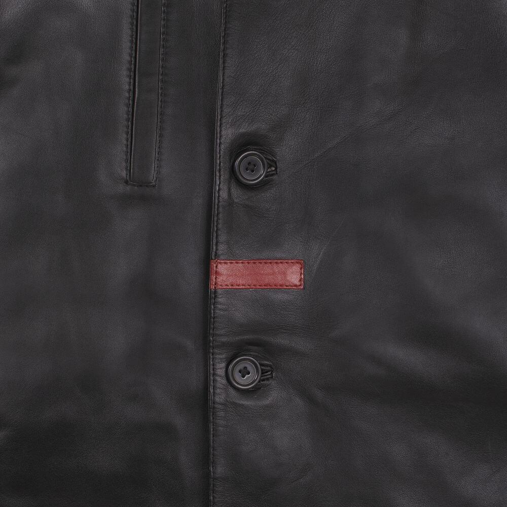 Front Button Detail of Black Sheepskin Leather Blazer