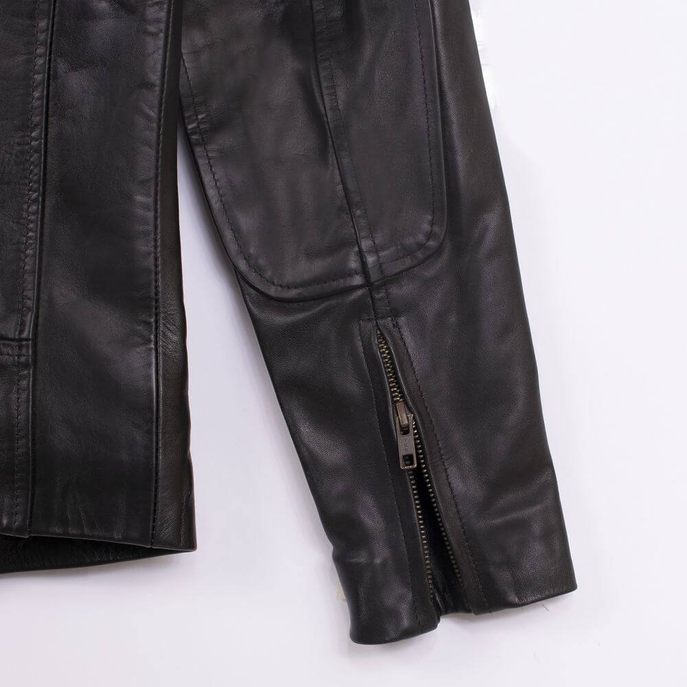 Cuff with Zipper Detail of Black Classic Sheepskin Leather Jacket