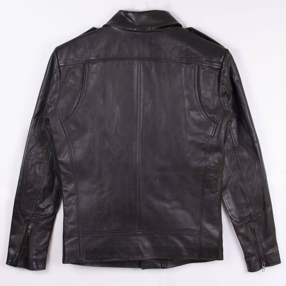Back of Black Classic Sheepskin Leather Jacket