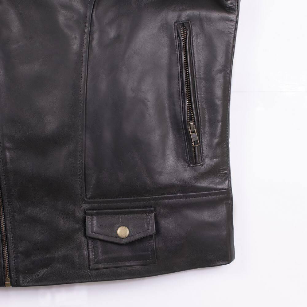 Side Pocket with Zipper Detail of Black Classic Sheepskin Leather Jacket
