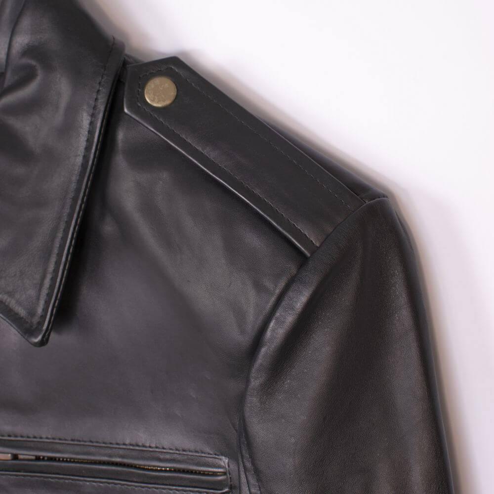 Shoulder Button Flap Detail of Black Classic Sheepskin Leather Jacket