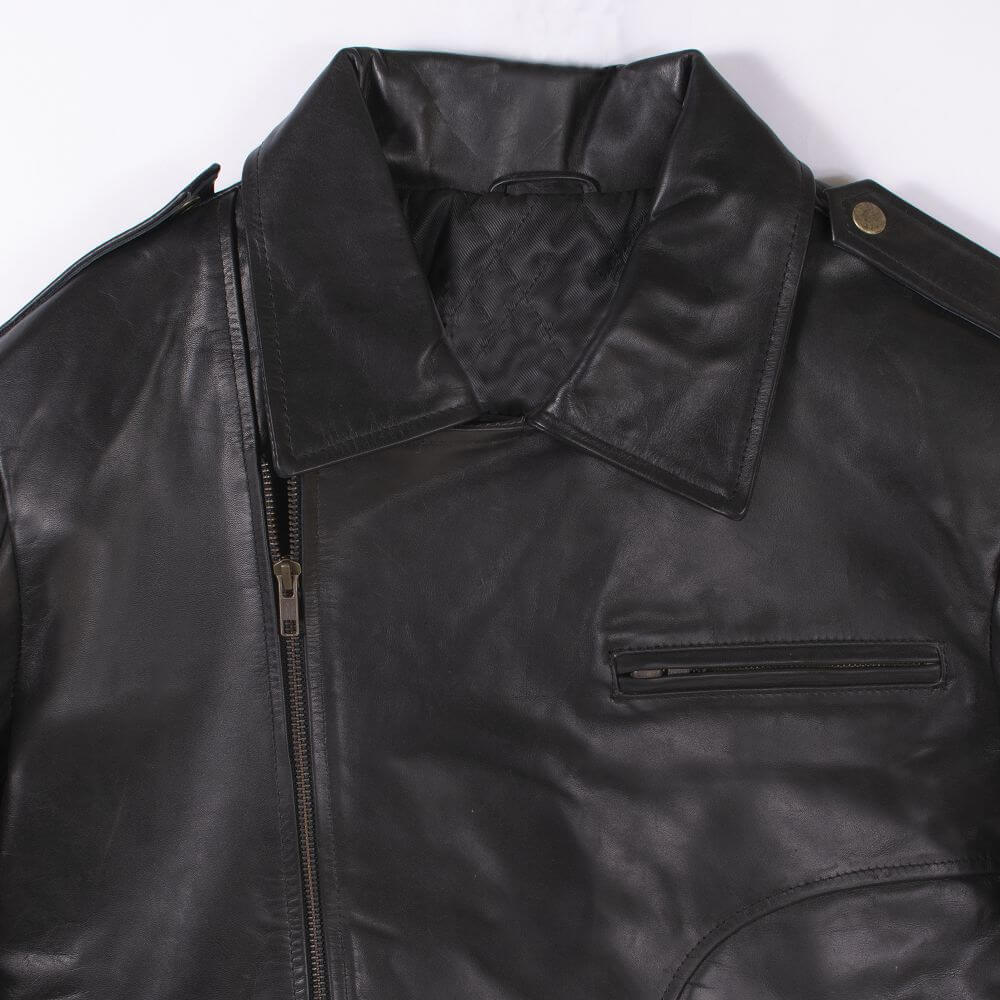Collar and Front Zipper Detail of Black Classic Sheepskin Leather Jacket