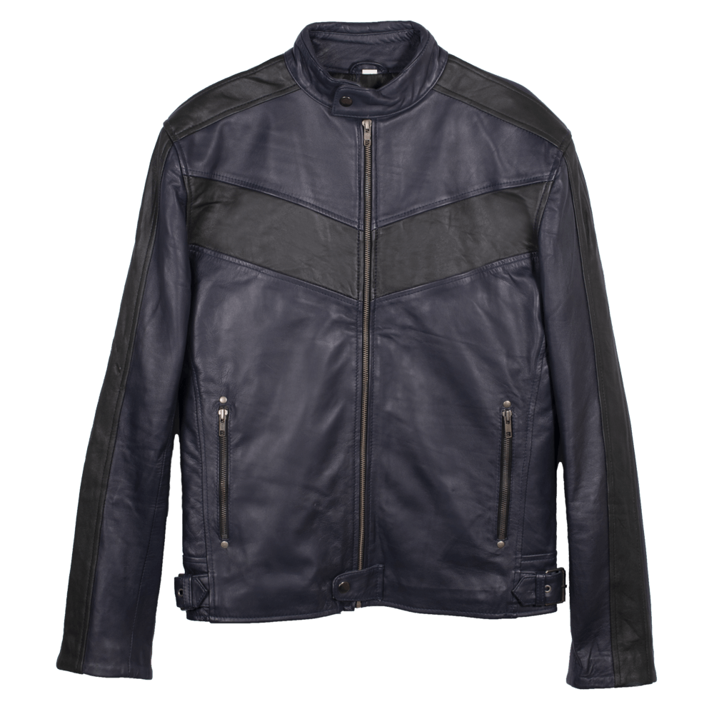 Navy Blue Leather Racer Jacket with Stripe Detail