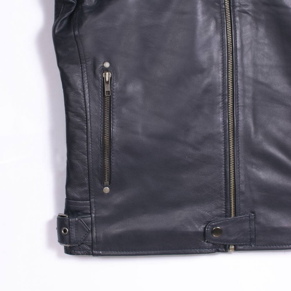 Front Pocket Zipper Detail of Navy Blue Leather Racer Jacket with Stripe Detail