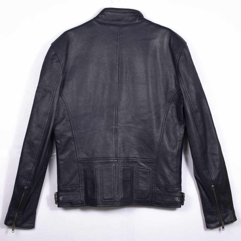 Back of Navy Blue Leather Racer Jacket with Stripe Detail