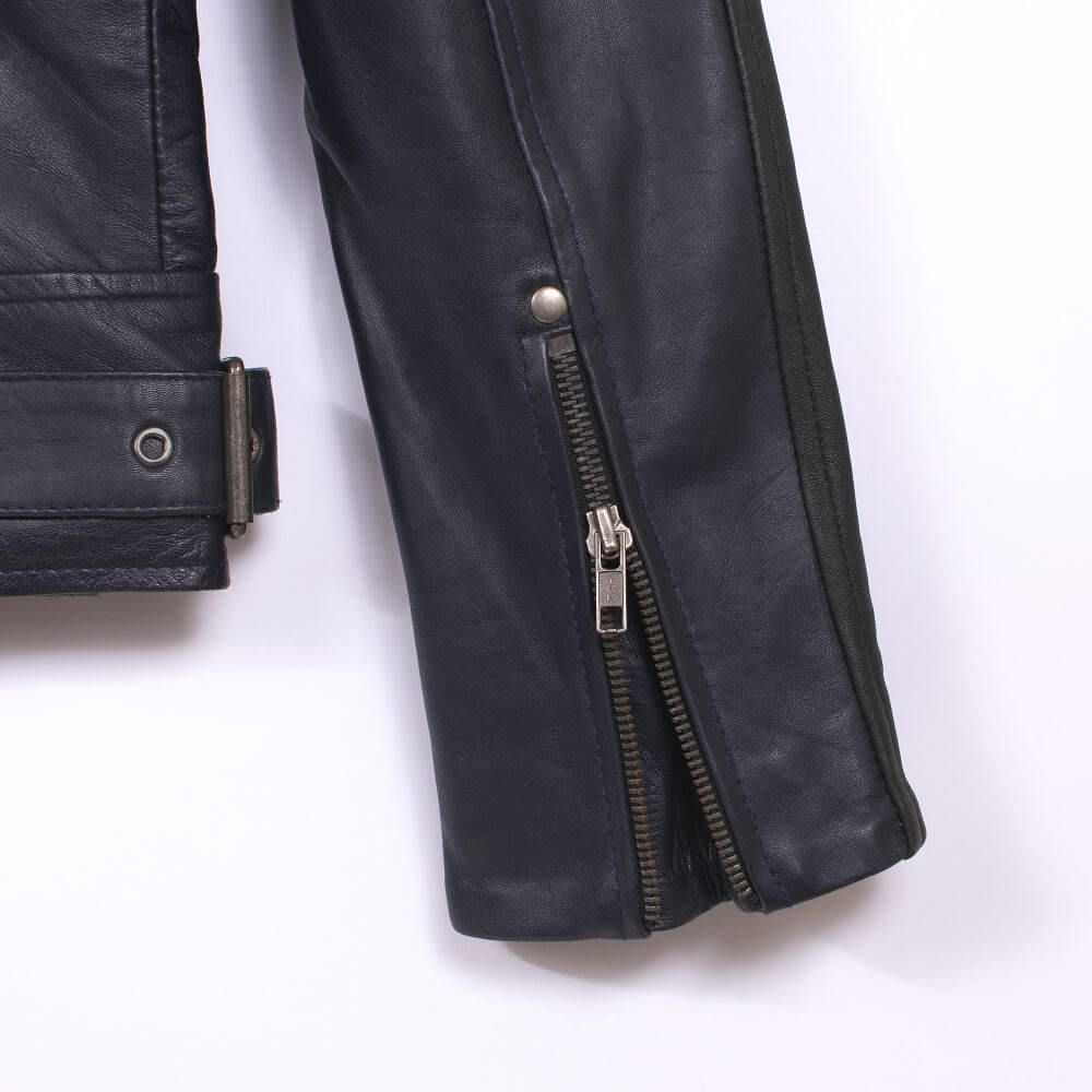 Cuff with Zipper Detail of Navy Blue Leather Racer Jacket with Stripe Detail