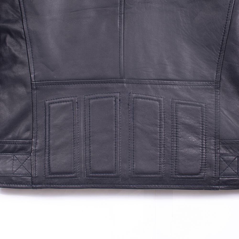 Back Hem Detail of Navy Blue Leather Racer Jacket with Stripe Detail