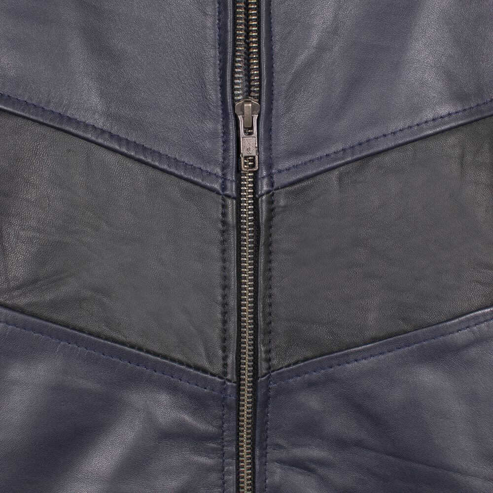 Front Zipper Detail of Navy Blue Leather Racer Jacket with Stripe Detail