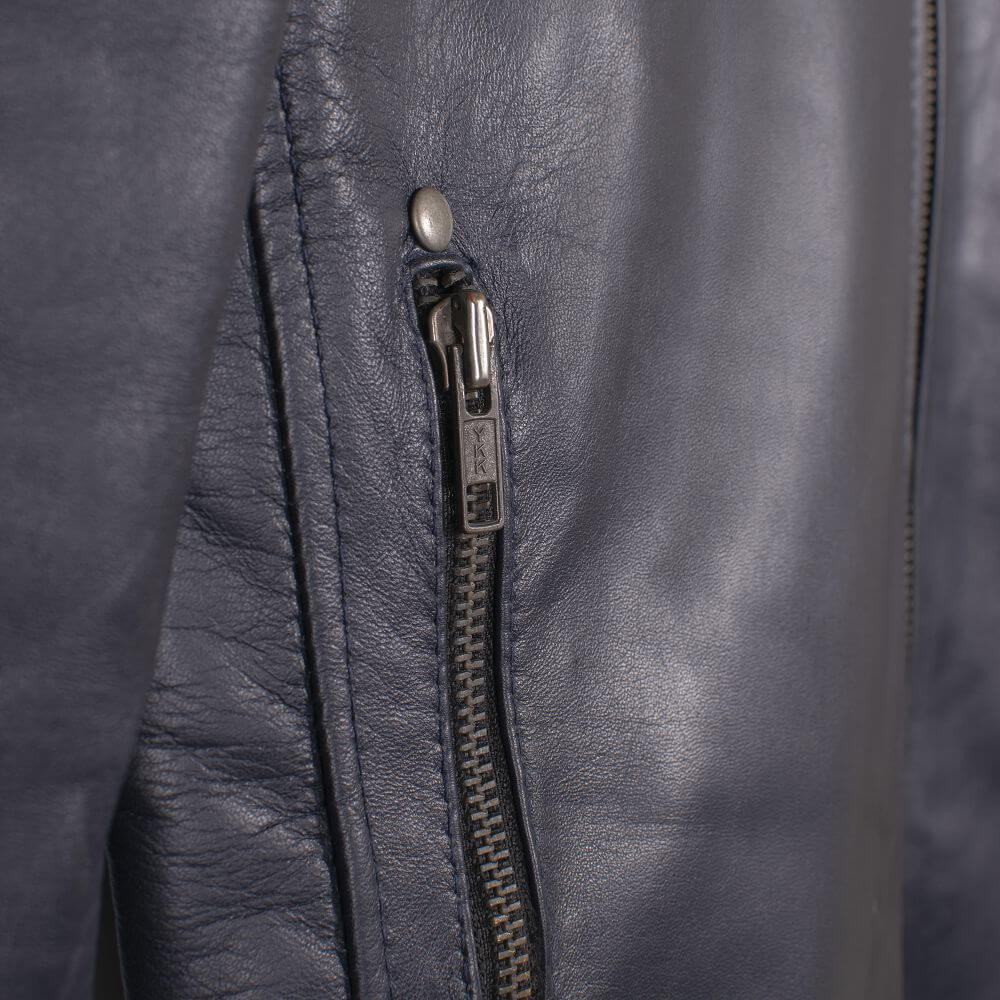 Side Pocket with Zipper Detail of Navy Blue Leather Racer Jacket with Stripe Detail