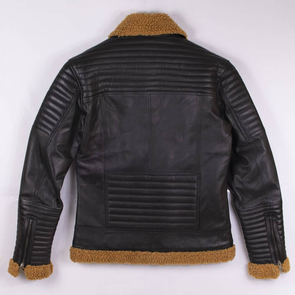 Back of Black Shearling Leather Jacket