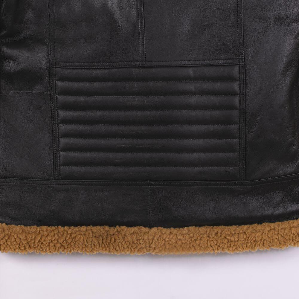Back Hem Detail of Black Shearling Leather Jacket
