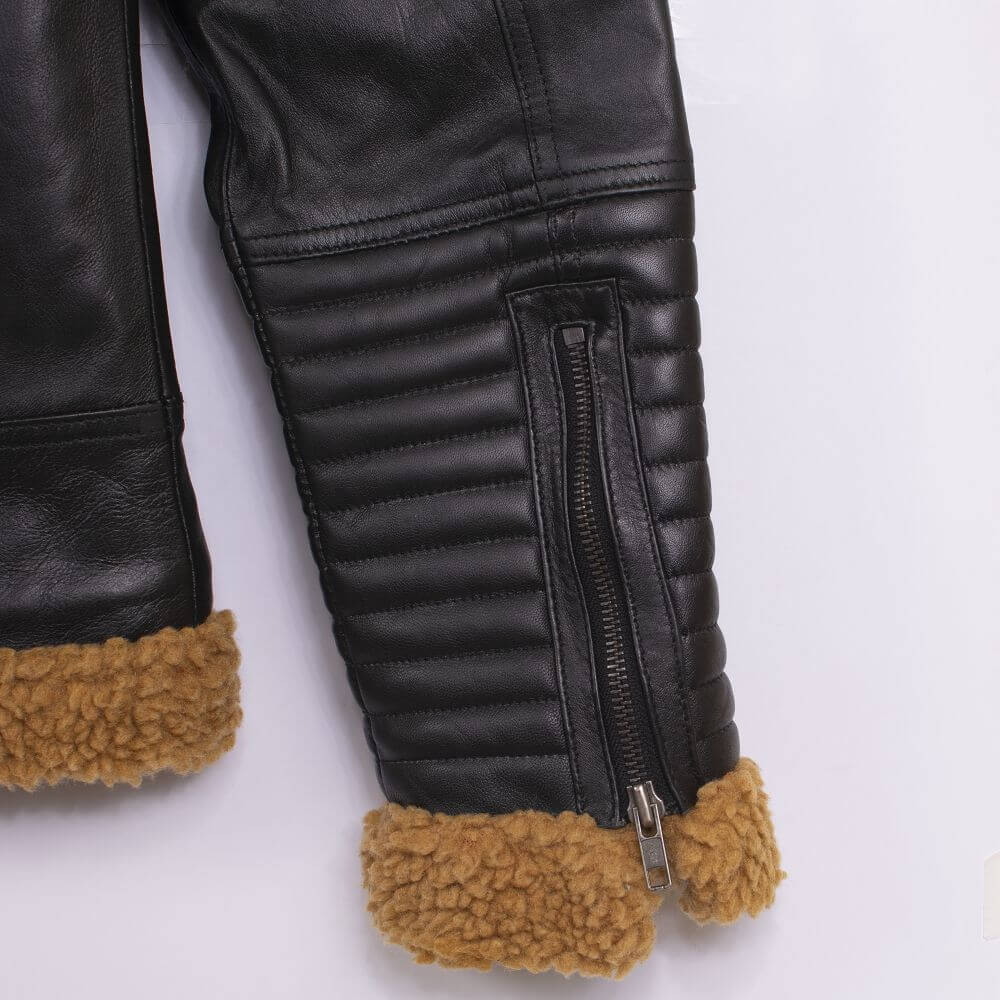 Cuff with Zipper Detail of Black Shearling Leather Jacket