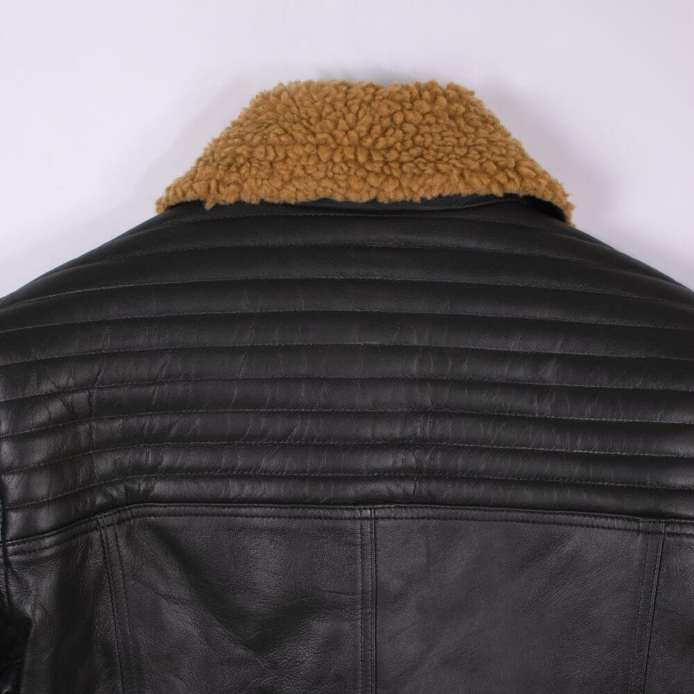 Back Collar Detail of Shearling Leather Jacket