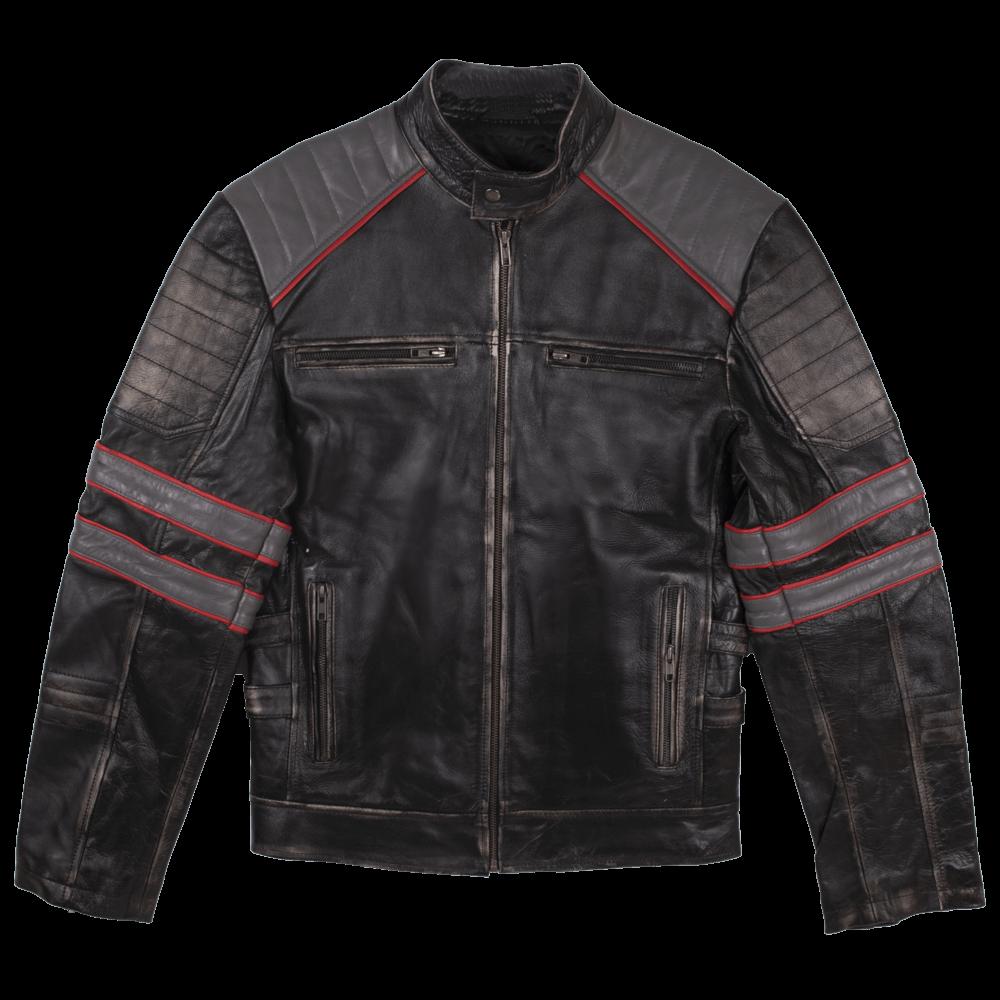 Tri-Color Leather Cafe Racer Jacket
