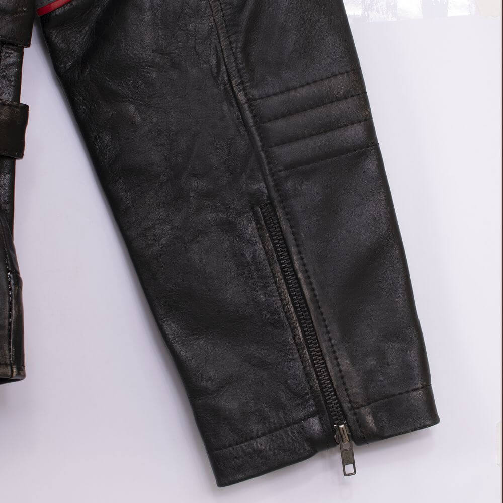 Cuff with Zipper Detail of Black Tri-Color Leather Cafe Racer Jacket