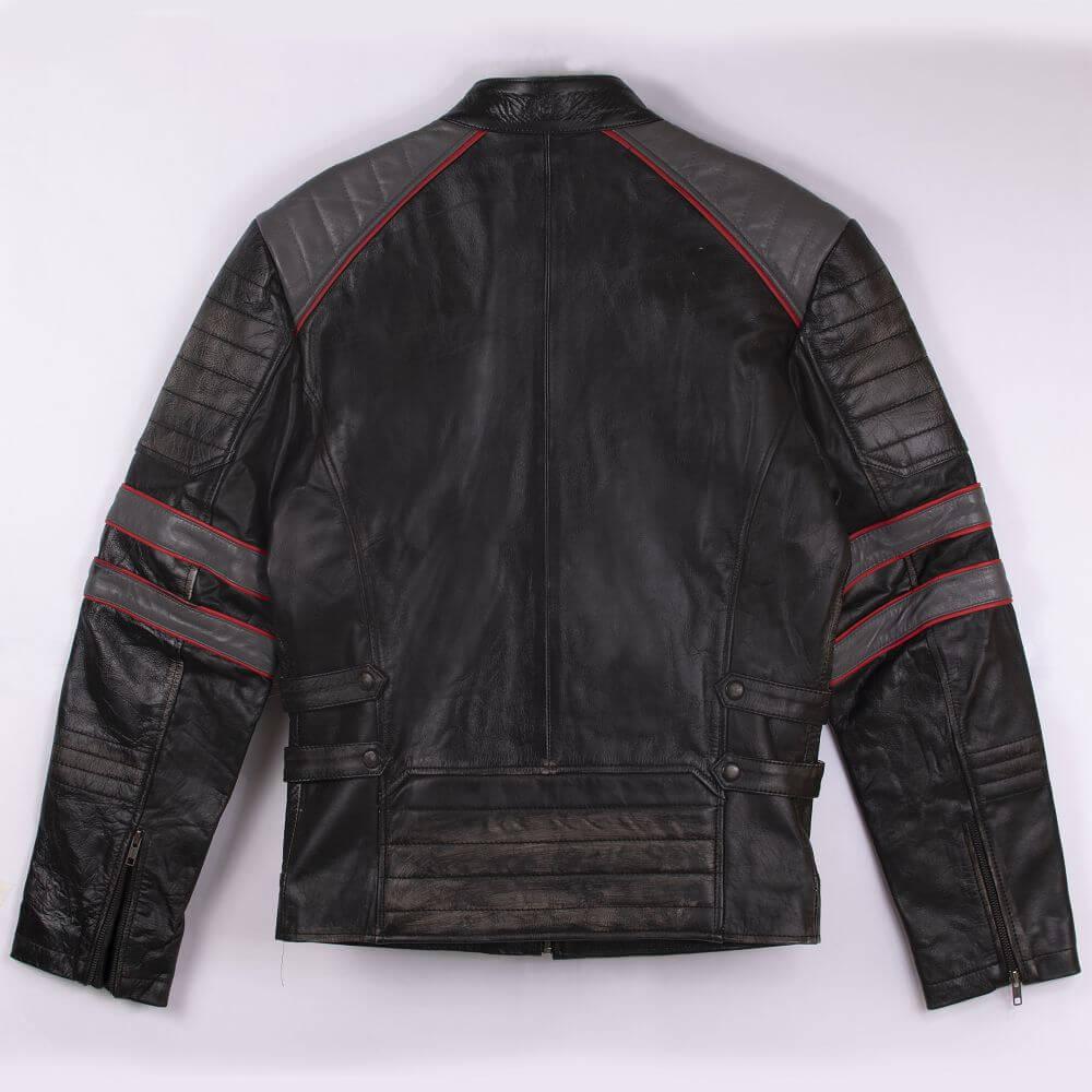 Back of Black Tri-Color Leather Cafe Racer Jacket