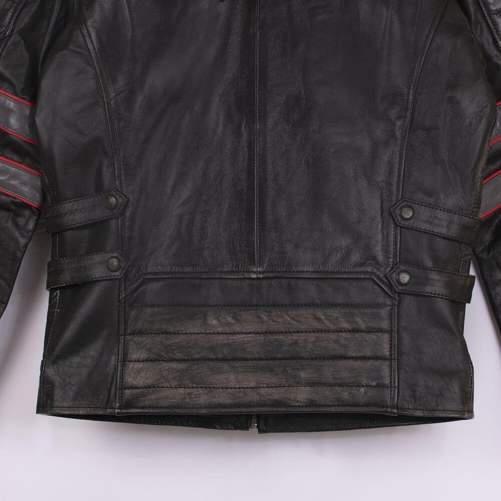 Back Hem and Fabric Detail of Tri-Color Leather Cafe Racer Jacket