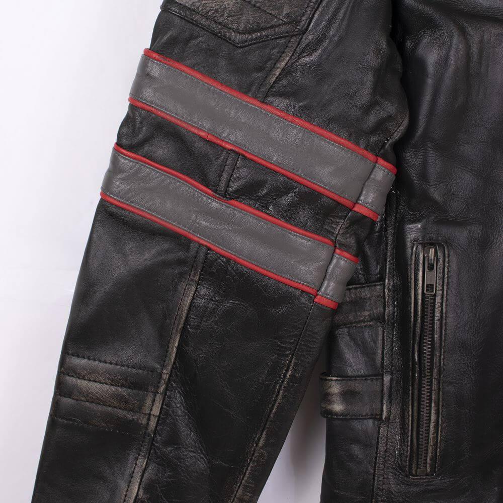 Two Stripe Detail on Arm of Black Tri-Color Leather Cafe Racer Jacket
