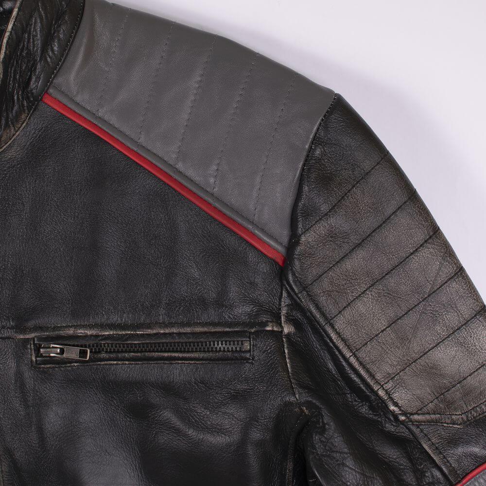 Shoulder and Chest Zip Detail of Black Tri-Color Leather Cafe Racer Jacket