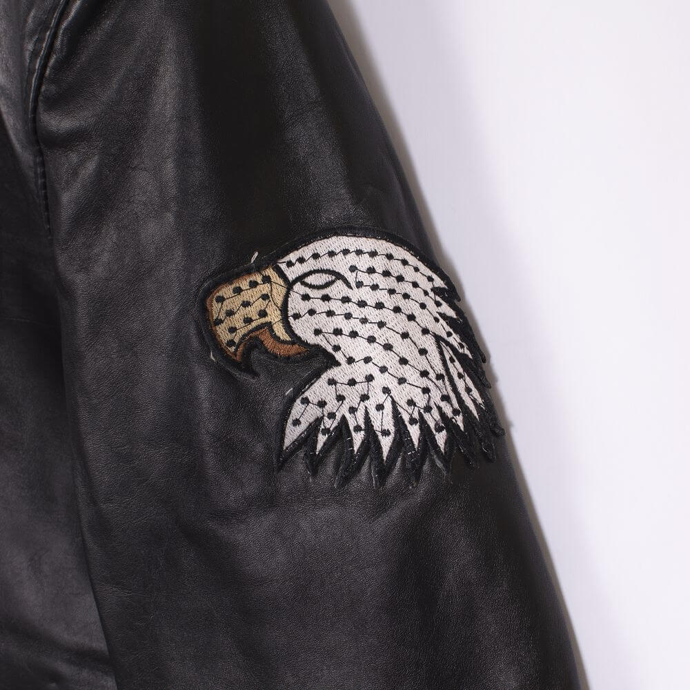 Eagle Head Detail of Black USA Eagle Biker Jacket
