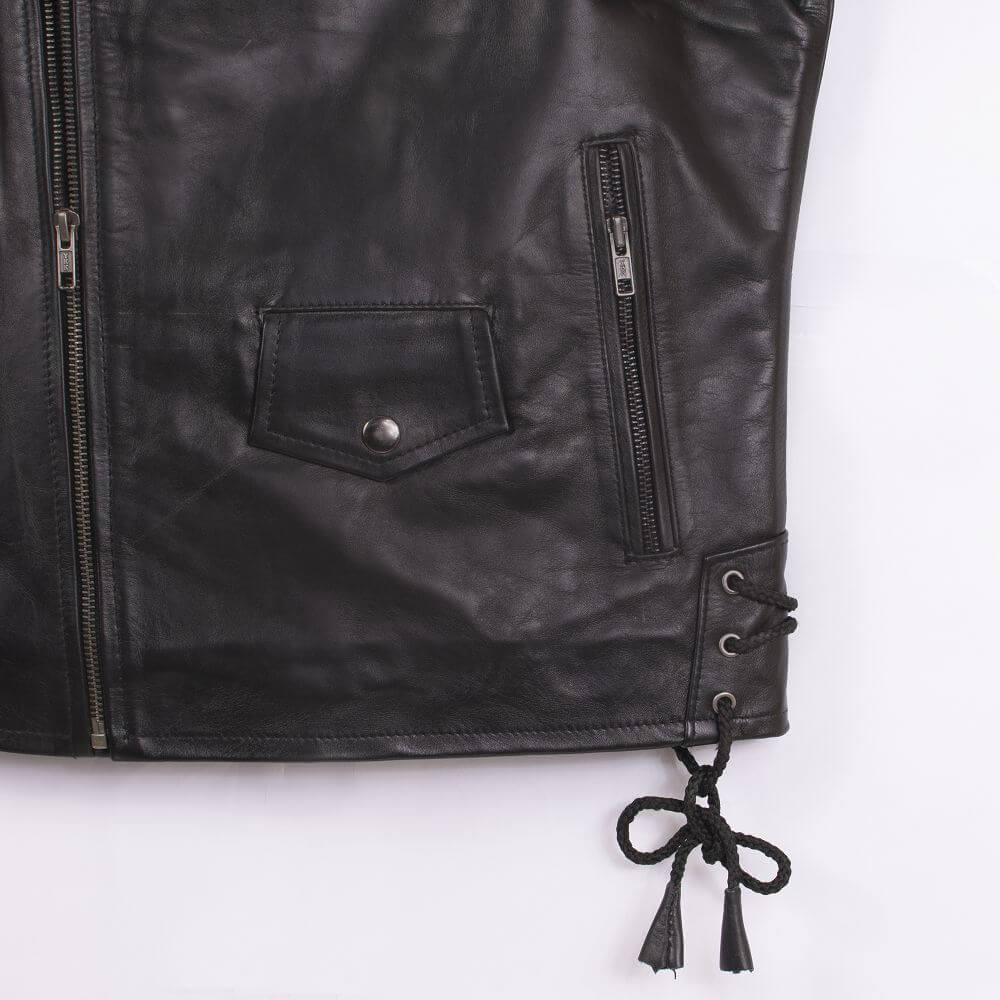Hem with String Detail of Black USA Eagle Biker Jacket