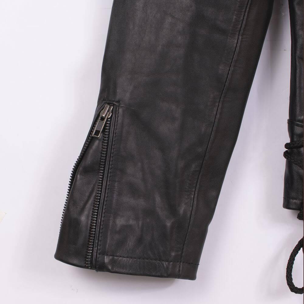 Cuff with Zipper Detail of Black USA Eagle Biker Jacket