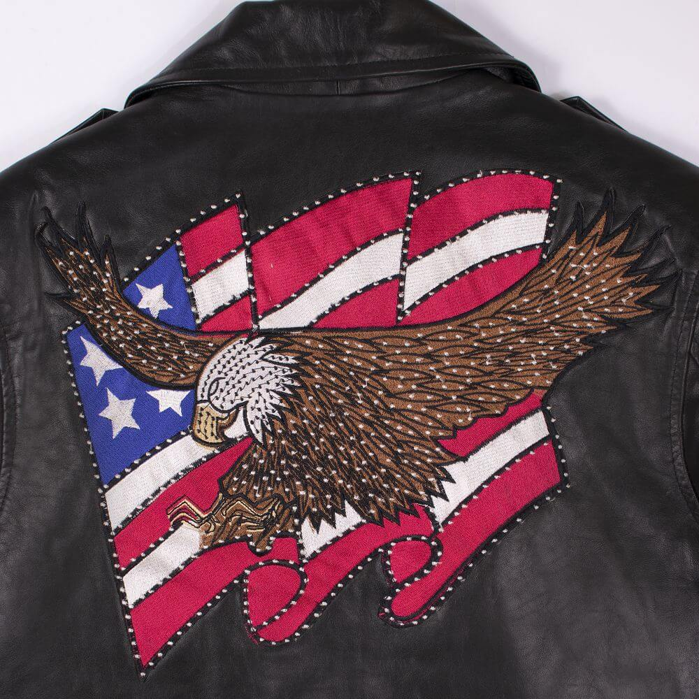 Eagle on American Flag Detail on the Back of Black USA Eagle Biker Jacket