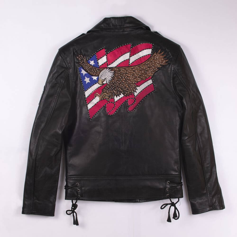 Back of Black USA Eagle Biker Jacket
